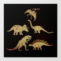 dinosaurs Canvas Prints featuring Dinosaurs by chobopop
