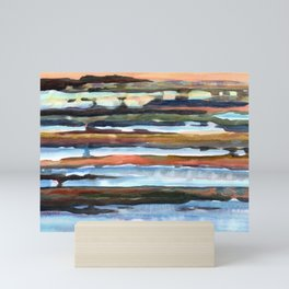 Tidal Flats of Provincetown, Cape Cod Bay, watercolor painting, semi-abstract seascape Mini Art Print
