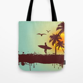Sunny beach with palm surfer in Hawaii Tote Bag