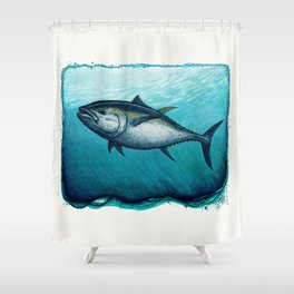 Bluefin Tuna ~ Watercolor Painting by Amber Marine,(Copyright 2016) Shower Curtain