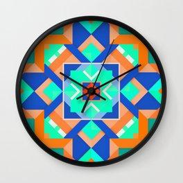 Geometric Tribal Mandala Inspired Modern Trendy Vibrant (Mint Green, Cobalt Blue, Orange) Wall Clock