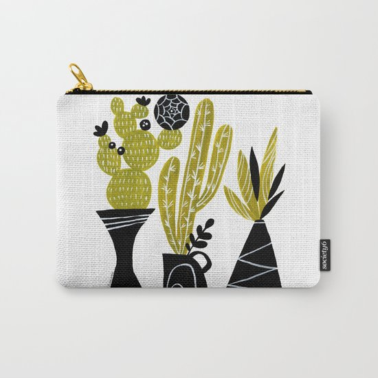 GREEN AND BLACK CACTUS Carry-All Pouch