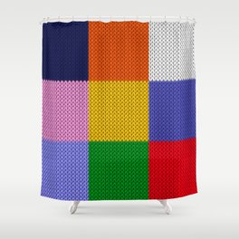 Knitted colorful squares Shower Curtain