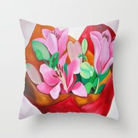 valentines Throw Pillows featuring Valentines Bouquet by marlene holdsworth