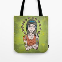 simpson Tote Bags featuring Saint Simpson by A+A Noisome Art