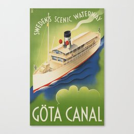 Vintage Travel Poster - Sweden's Scenic Waterway Göta Canal Canvas Print
