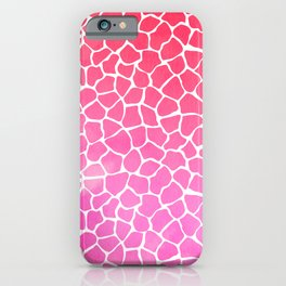 Lovely Watercolor Pink Rose Giraffe Animal Pattern iPhone Case