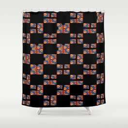 Flowers on black S04 Shower Curtain