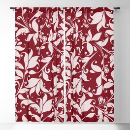 Brocade (White on Burgundy) Blackout Curtain