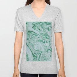 Marble Acrylic Jade Green Unisex V-Neck