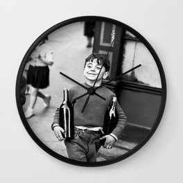 Little Boy and Bottles of Wine, Black and White Vintage Art Wall Clock