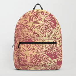 Pink and Gold Mandala Doodle Patterns Backpack