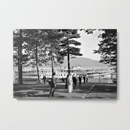 Vintage Lake George: The Sagamore Docks at Green Island Metal Print