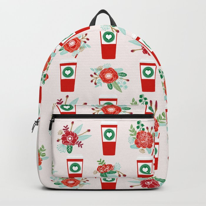 Coffee holiday cups floral bouquet flowers coffees cafe basic art Backpack
