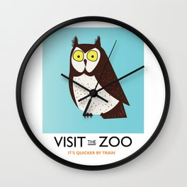 visit the zoo owl Wall Clock