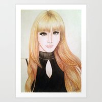 2ne1 Art Prints featuring Park Bom (2NE1) by Hileeery