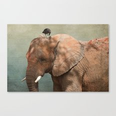 Brotherly- elephant and owl Canvas Print