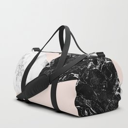 Black white marble blush pink color block Duffle Bag