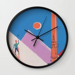 Switzerland Retro Vintage Ski Poster Wall Clock