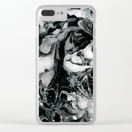 Black and white Marble texture acrylic paint art Clear iPhone Case