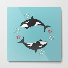 Killer Whale Wreath Metal Print