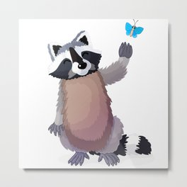 raccoon and butterfly. Vector graphic character Metal Print