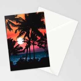 Summer Tropical Pink Orange Palm Trees Sunset Stationery Cards