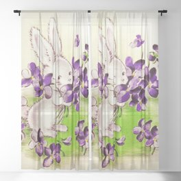 Lilac the Easter Bunny Sheer Curtain