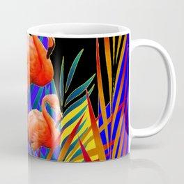 ABSTRACT BLACK-PURPLE FLORIDA FLAMINGO WATER LILIES Coffee Mug