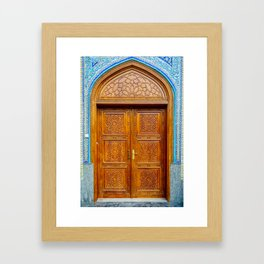 Door of Iranian Mosque in Bur Dubai Framed Art Print