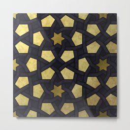 Contemporary Geometric Pattern Accented By Gold Stars Metal Print