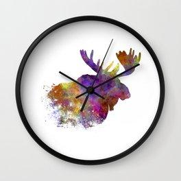 Moose 04 in watercolor Wall Clock