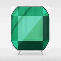 emerald Shower Curtains featuring Emerald by creativeesc