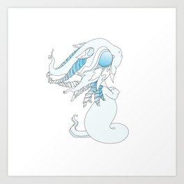 Winter Ghost Dragon Baby Art Print