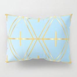 Golden Blue Fretwork Pillow Sham