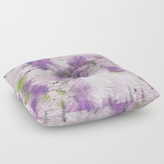 Purple - Lavender Fluffy Floral Abstract Floor Pillow by Judy Palkimas Society6