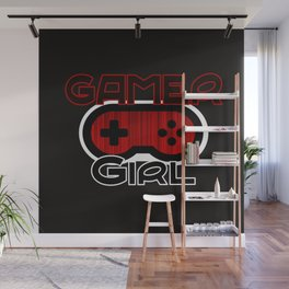 Red Gamer Girl Wall Mural