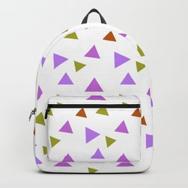 Geometrical violet purple lime green triangles pattern Backpack