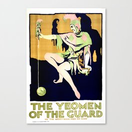 Vintage Art Deco pre 1920's Theatre Play Poster Style Yeoman Jester Canvas Print