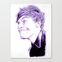 louis tomlinson Canvas Prints featuring Louis Tomlinson by Drawpassionn