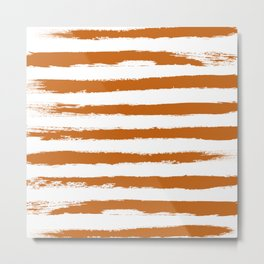 Autumn Maple STRIPES Handpainted Brushstrokes Metal Print
