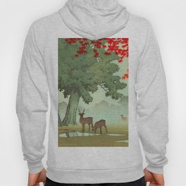 Vintage Japanese Woodblock Print Nara Park Deers Green Trees Red Japanese Maple Tree Hoody