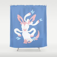 sylveon Shower Curtains featuring Sylveon by Polvo