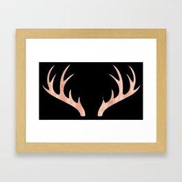 Antlers Rose Gold Deer Antlers Framed Art Print