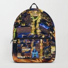 night city buildings lights roads usa Backpack