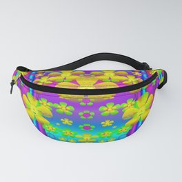 Outside the curtain it is peace florals and love Fanny Pack
