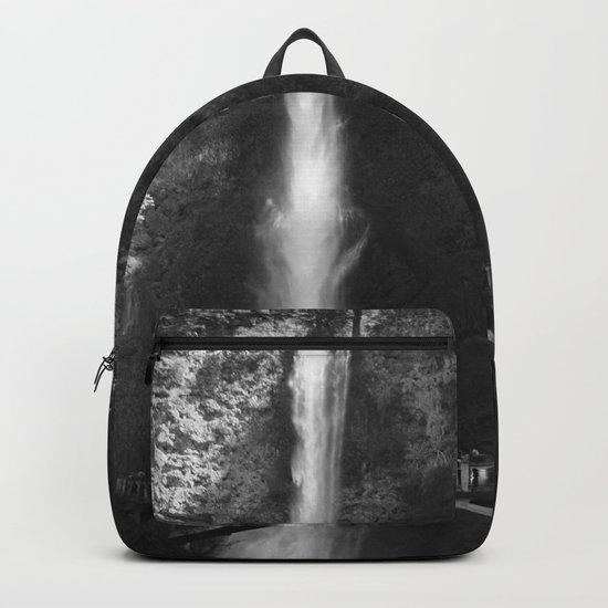 Multnomah Falls Oregon Waterfall Black and White Backpack