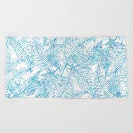 Fern Silhouette Blue Beach Towel
