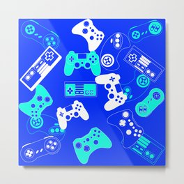 Video Games light blue on blue Metal Print