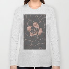 Rosegold  blossom on grey - Pink metal - effect flower Long Sleeve T-shirt